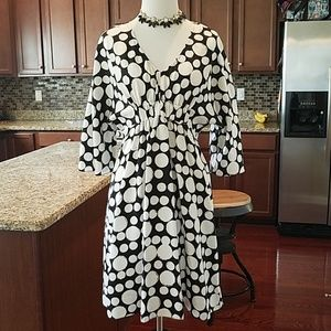 Michael Kors silk white and black polka dots dress